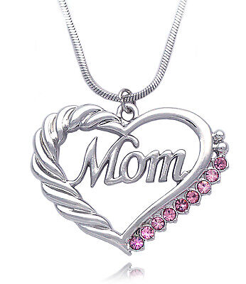 Heart Mom Necklace Mothers Day Birthday Gift For Wife Mom Pink Crystal Gift Box