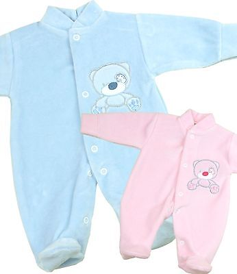BabyPrem Baby Clothes Preemie Micro Boys Girls Unisex Velour Sleeper Footie