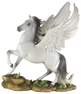 """White Pegasus Winged Horse Figurine 13"""" High Resin New In Box"""