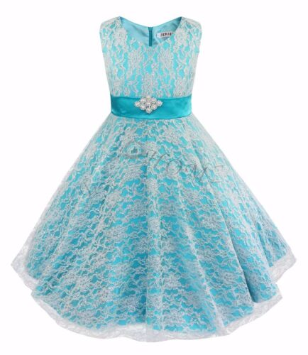 Kids girls skirts lace flower dress ball gown prom pageant graduation