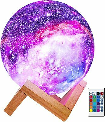 Moon Lamp Kids Night Light Galaxy Lamp 5.9 inch 16 Colors LED 3D Star Moon Light