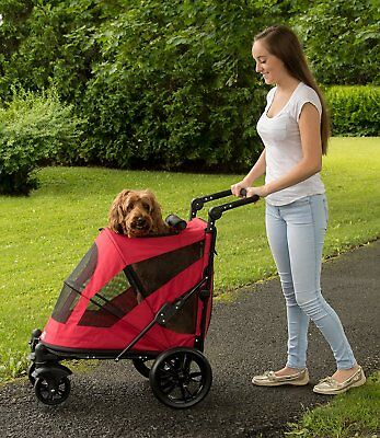 Pet Gear Excursion NO-ZIP 2 Door Dog Pet Stroller up to 100 lbs. Candy Red