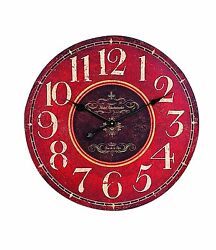 Creative Co-op Wooden Wall Clock, Red , New, Free Shipping