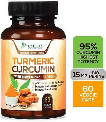 Turmeric Curcumin 95% Curcuminoids 1950mg with BioPerine Black Pepper for