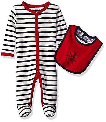 Nautica Newborn Baby Boys' Sleeper And Bib Set (0/3-3/6-6/9 Months) MSRP $42.00