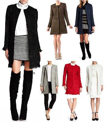 Vertigo Paris Womens Tweed Fringe Boucle Coat