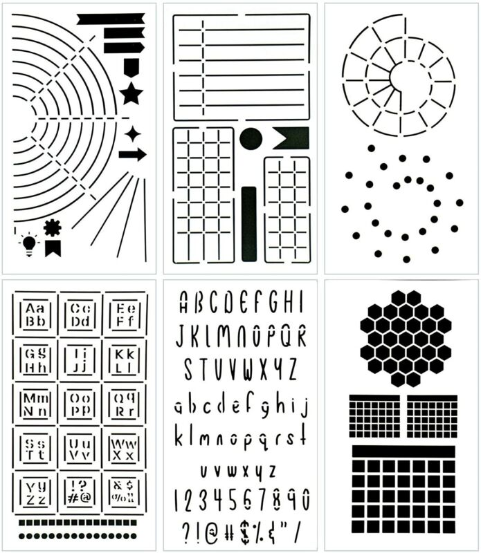 Ultimate Productivity Journal Stencil Set Supplies for Bullet Journal Planners