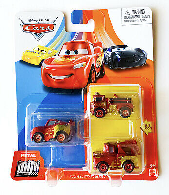 Disney Cars Mini Racers 3-Pack RUST-EZE WRAPS SERIES Red Mater Lightning New