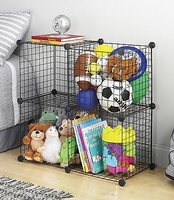 Whitmor 4 Storage Cubes, Organize, Room, Home, Garage, Office, Black,Cubes, Wire Whitmor Storage Cubes
