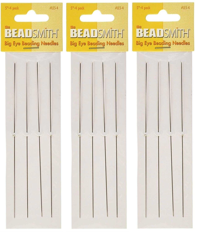 "BeadSmith Big Eye Beading Needles 5"" Beading 3 Pack - 12 Nee"
