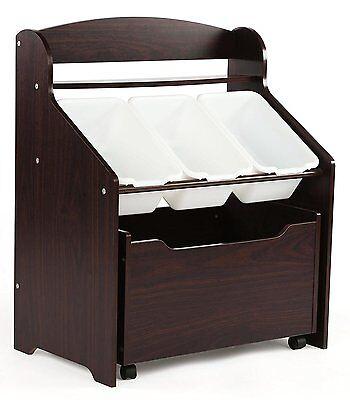Kids Chest Storage Box Bin Furniture Bench Toys Box Wood Toy Organizer Espresso