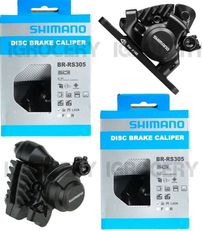 Shimano BR-RS305 Front Flat-Mount Disc Brake Caliper with Resin Pads with Fins