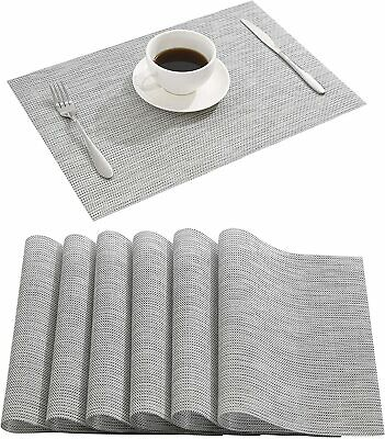 Waterproof Dining Room Kitchen Table Placemats Set Of 6 Easy Clean Washable Gray