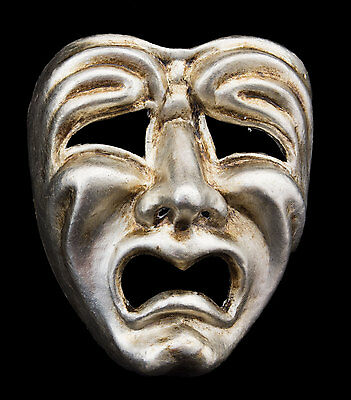 Mask from Venice Face Volto Paper Mache Silver Tragedy Weeping 2267 VG9B