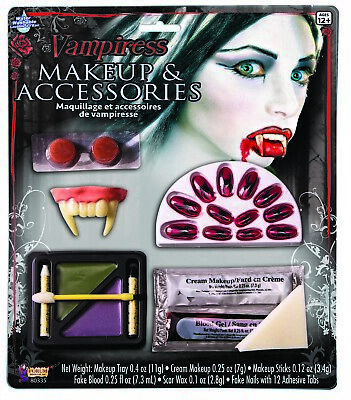 Bloody Vampiress Makeup & Accessories Kit Nails Teeth Blood Halloween Accessory - Bloody Halloween Makeup