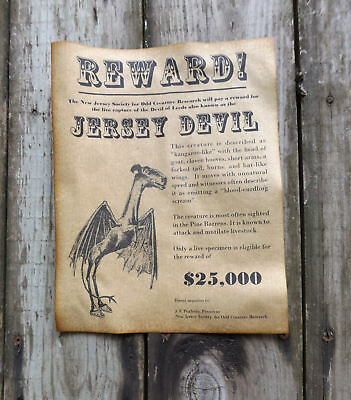 Jersey Devil Wanted Poster, Halloween Decor, 8-1/2 x 11, party, - Halloween Decorations New Jersey