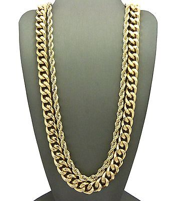 "Men Hip Hop Rapper Style Gold Hollow 30"" Rope Chain Cuban 2pcs Necklace Set G124"