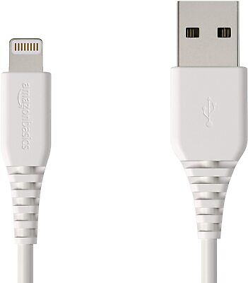 AmazonBasics Lightning to USB A Cable, MFi Certified iPhone Charger, White, 4 In