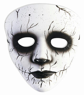 Black Female Halloween Costumes (Banshee Black White Female Spirit Plastic Mask Accessory Costume)