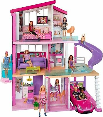 Barbie Dream House Doll House with 70+Accessories+Accessible Elevator+Pool