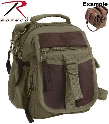 Compact Pouch Olive (Olive Drab Compact Multi Pocket Travel Shoulder Bag With Leather Accents 2835 )