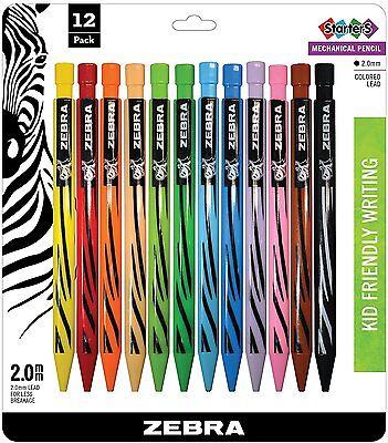 Zebra Colored Mechanical Pencils 12 Pack New