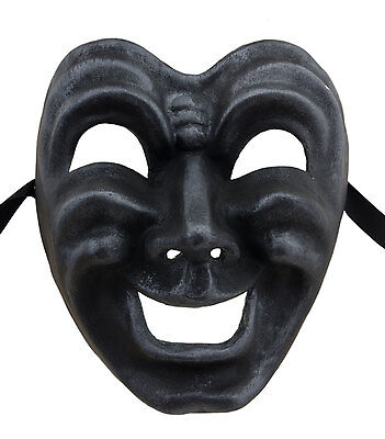 Mask from Venice Face Volto Paper Mache Grey Steel Tragedy Laugh 22676 GT2