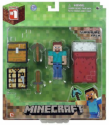 Minecraft Core Player Survival Pack Steve Figure With Accessories Playset Toy