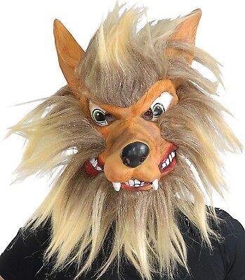 Erwachsene Herren verrückt haarig Wolf Tier Halloween Kostüm Maske (Verrückte Halloween Masken)