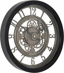 Nice Wall Clock 24 2' Large Analog Contemporary Industrial Gears Steampunk