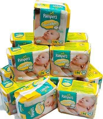 Pampers Swaddlers Baby Diapers Size N Newborn 240 Count (12 Packs of 20 ) NEW for sale  Shipping to Nigeria