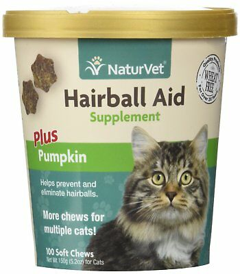 - NaturVet Cat Hairball Aid Supplement Soft Chew Plus Pumpkin Flavor 100 count