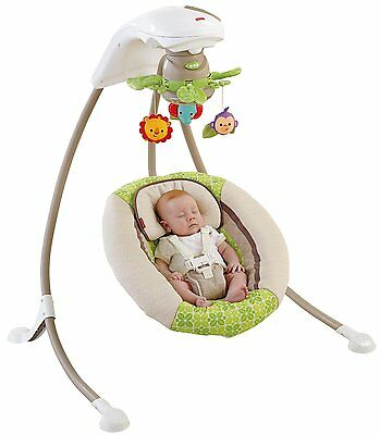 Fisher Price Rainforest Friends Deluxe Baby Cradle & Swing w/ Music   X7340