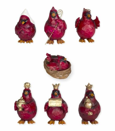 7 Piece CARDINAL NATIVITY Christmas Nativity Scene, by Slifka