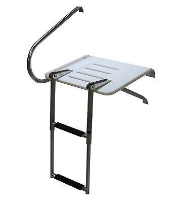 Pactrade Marine Boat Outboard Fiberglass Swim Platform 2-Steps Telescopic Ladder