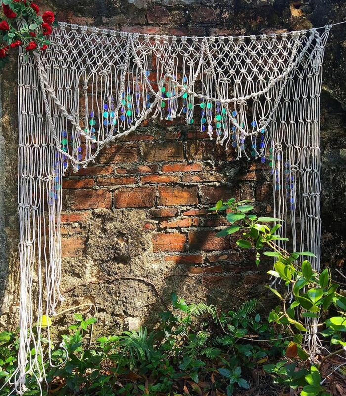Boho Large Sequin Macrame Wall Hanging Door Curtain Wedding Backdrop Arch Arbor
