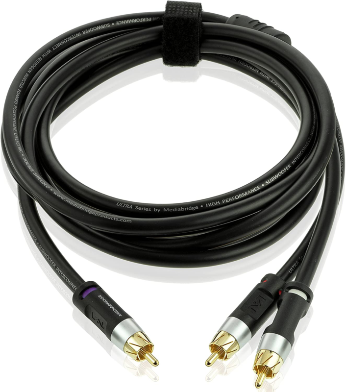 New Ultra Series RCA Y-Adapter 1-Male to 2-Male Subwoofer Ca