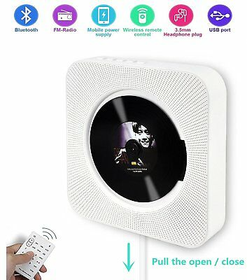 Portable Wall Mountable Wireless Bluetooth CD Player Built-in HiFi Speakers
