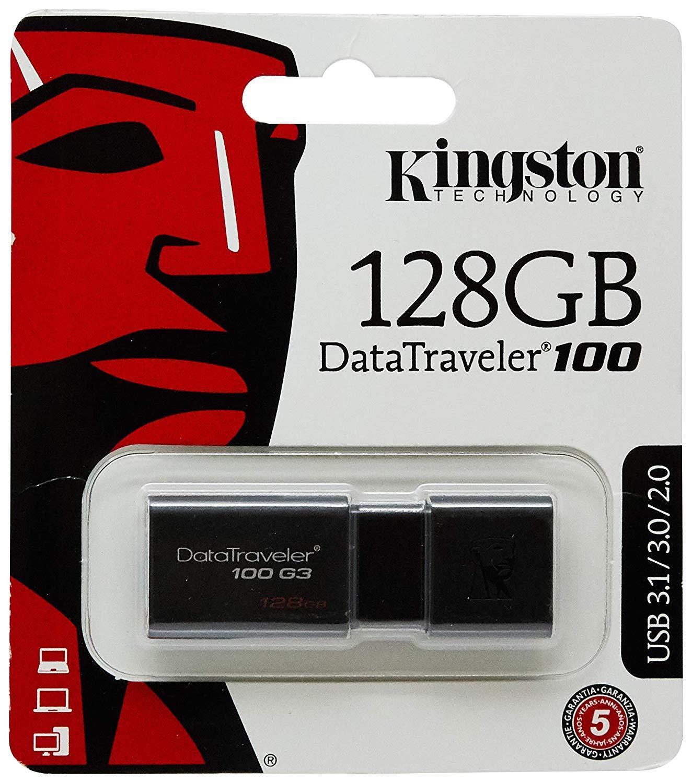 Kingston 128GB USB 3.0, 3.1 Flash Drive, Noir,clé de stockagen capuchon pivotant