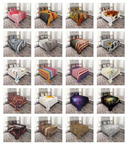 Bed Coverlet Set Quilted Pillow Shams with Decorative by Amb