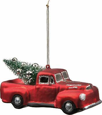 Primitives By Kathy RED TRUCK with TREE GLASS ORNAMENT NEW Christmas Holiday