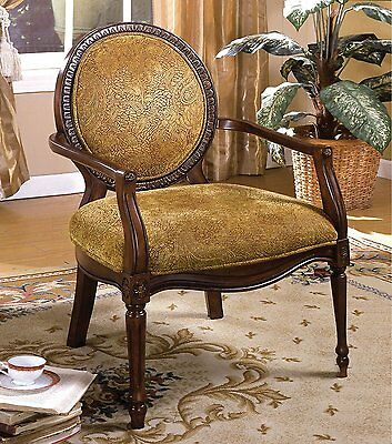 Hamilton Dark Oak with Floral Fabric Accent Chair by Furniture of -