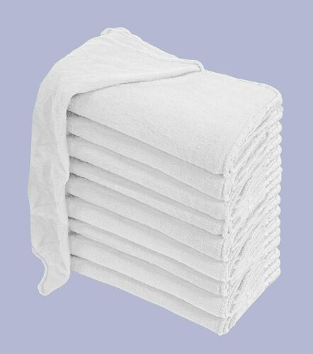 """15 Pack of White Shop Towels - 12"""" x 14"""" Cleaning Rags - Great for Homes & Cars"""