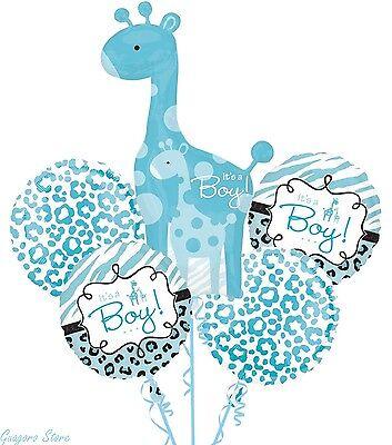 Baby Shower It's a Boy Balloon Bouquet 5pcs Safari Aminals Giraffe party supply