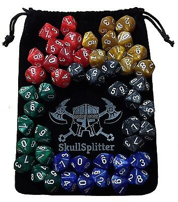 D10 DICE SET-5 Complete Sets, Perfect for WOD or Math Dice Games -