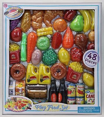 Play Food Set 48 Piece Assortment Tasty Treats Kitchen Toys Fruit Vegetables NEW