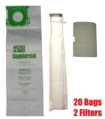 To Fit Sebo, Windsor Service Box Vacuum Bag and Filter Kit. 20 Bags + 2 Filters (Bag Filter Kit)