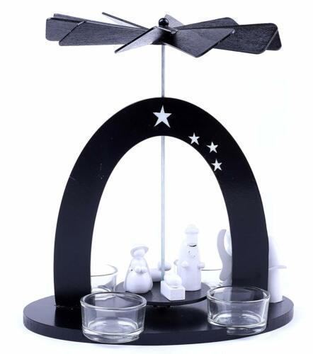 BRUBAKER Christmas Pyramid - Black/White - Nativity Scene - Designed in Germany