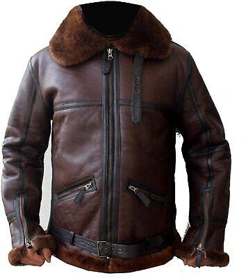 Men's Aviator RAF B3 Biker`s Brownish Shaded Fur Sheepskin Leather Jacket