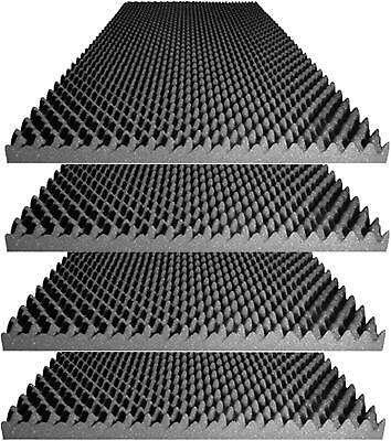 "2.5"" X 24"" X 48"" Acoustic Foam - Charcoal Egg Crate Panel Studio Foam (4 Pack)"